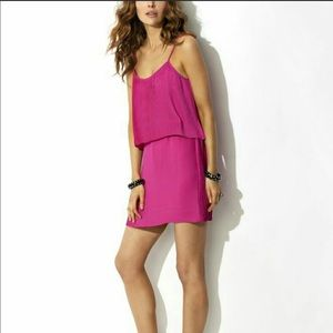 PARKER Pleated layered neon pink mini dress SIZE S